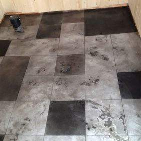 Black and white overlay flooring