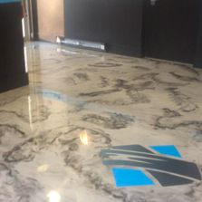 Commercial flooring with logo